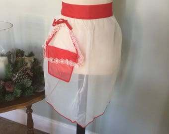 Vintage 50's Sheer Red& White Apron