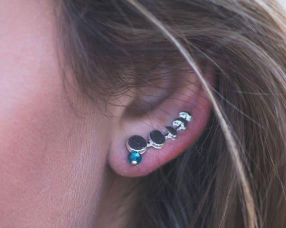 Custom Birthstone Moon Phase Ear Climber Earrings
