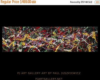 "17% OFF /ONE WEEK Only/ Enormous Fantasy I abstract by Paul Juszkiewicz 72"" inch 6 ft long Pollock style unique"