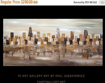 "17% OFF /ONE WEEK Only/ Chicago Scape Knife Huge modern Abstract Deep texture by Paul Juszkiewicz 48""x24"" brown cognac"