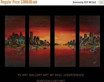17% OFF /ONE WEEK Only/ The City Scape night canvas set Paul Juszkiewicz