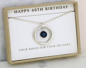 40th birthday idea, black pearl necklace silver, June birthday gift for her, gift for wife - Lilia