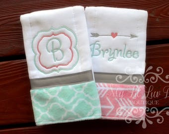 Personalized Girl Burp cloth set arrow - prefold diaper burp cloths - monogrammed burp cloths - set of two - burp cloths embroidered