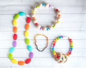 MYSTERY GRAB BAG - Four Items - Silicone Teething Necklace - Baltic Amber Teething Necklace - Baby Amber Necklace - Baby Teething Toys