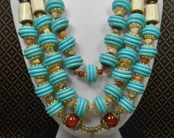Southwest Tribal Ethnic Statement Necklace - Howlite Turquoise and White Coral - Chunky Western Necklace - Tribal Necklace - TRULY TRIBAL