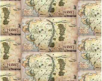 "The Hobbit from Camelot Fabrics - 24"" x 44"" Digitally Printed Panel of Middle Earth Map Fabric from Lord of the Rings"