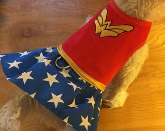 Wonder Woman inspired small dog harness dress, Made in USA, dog harnesses, pet clothing