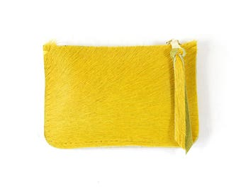 Yellow Hair On Hide Leather Zip Pouch Purse Wallet Handmade