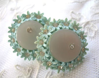 Vintage Carved Celluloid Featherweight Earrings ~ Baby Blue ~ Screwback