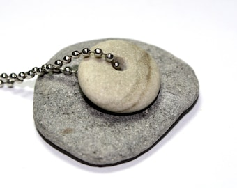 Beach Stone Necklace - Drilled Riverstone Rock - Pebble Beach Stone - Drilled Beach Stone Handmade Necklace Jewelry - Oatmeal Bead Pendant