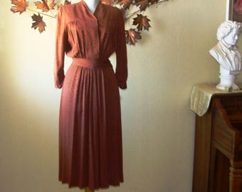 1930-40's Dress Brown mid Sleeve Size S Coppery Clouds in Fabric