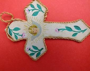 Antique handmade Dust Crucifix pendant Relic Agnus Dei