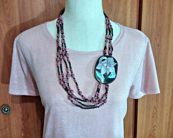 Vintage Black Gold Mauve Dark Pink Bead Necklace Multi Strand Inlaid Mother of Pearl Shell in Big Black Focal Piece Asymmetrical Style