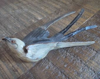 Vintage Hand Painted Wood Swallow Bird Brooch Pin