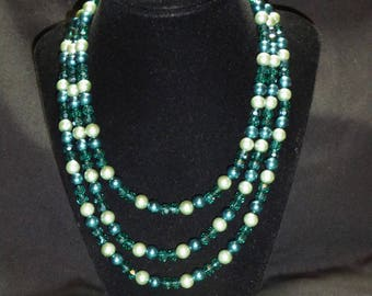 Multi-Strand Mint Green Beaded Necklace