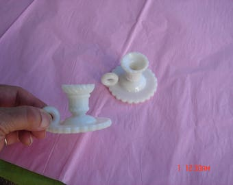 Vintage Pair White Milk Glass Minature Candle Holders - Rare