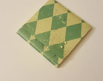 Teal and Green Harlequin Diamond Sticky Notes Pad with Pale Green Rhinestones