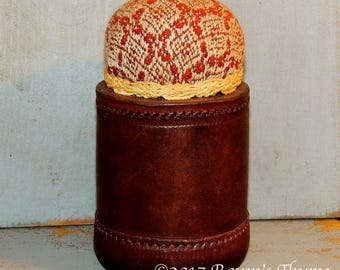 Masculine Leather Base Pincushion Perfect For The Manly Quilter