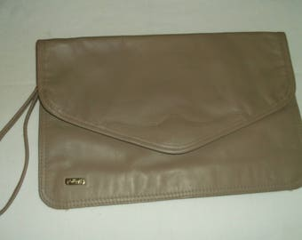 Taupe Leather Envelope Clutch Bag by Phillippe