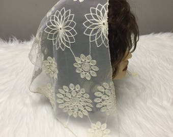Cream floral embroidered Lace Headcovering - Church or Chapel Veil Mantilla Scarf NEW