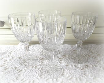 Vintage Crystal Water Goblets Mikasa Dublin Pattern Four Wine Glasses
