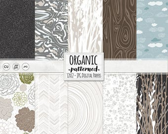 Organic Digital Scrapbook Paper, Nature Inspired Background Paper, Wood Grain Pattern, Succulent Flowers, Outdoor Wedding Patterned Paper,
