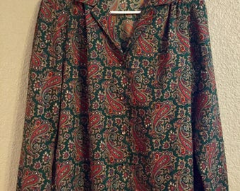 Vintage Levi Strauss & Co. Womenswear Paisley Blouse in Hunter Green