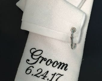 Golf towel/ father of the bride golf towel/best man towel/embroidered golf towel/groomsmen gift/fathers day/ father of the groom golf towel