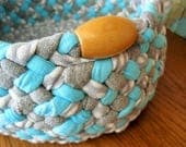 New Ready To Ship Handmade Catch all Braided Bowl / Basket in grays / blue from recycled fabrics for your kitchen / bathroom / office