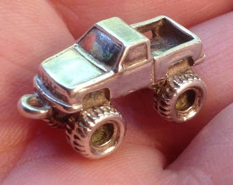 Monster Truck Sterling silver .925 charm four wheel drive truck charm