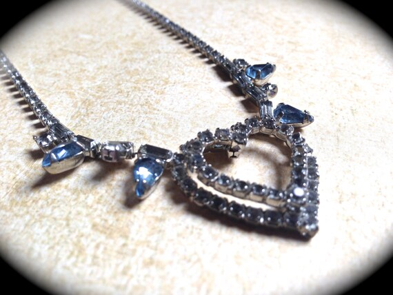 Rhinestone Heart Necklace, Rhinestone Bridal Heart Rhinestone Necklace