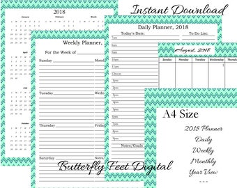 A4 Size 2018 Printable Planner, Monthly, Daily, Weekly, Yearly View, Chevron Art Style, Printable Calendar, Instant Download