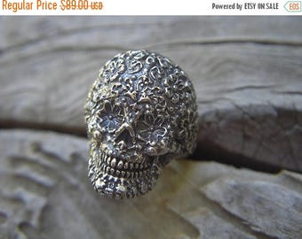 ON SALE Sugar skull ring in sterling silver
