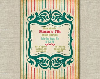 candy shop birthday party invitation, retro, vintage look, bright colors, rainbow