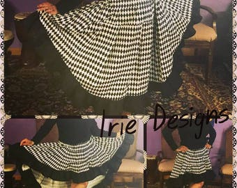 Black and White Harloquin Mullet with Black Ruffle and Pockets