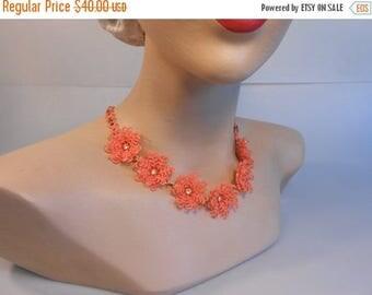 BI-ANNUAL SALE Snowbirds Head to Florida - Vintage 1950s Tangerine Orange Soft Plastic Floral Necklace