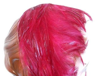 Only Vixens Wear These - Early 1950s Dark Fuchsia Pink Feather Bandeau Half Hat
