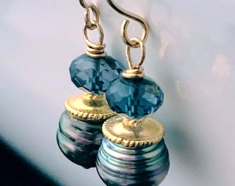 18k Solid Gold London Blue Topaz and Tahitian Black Pearl Earrings