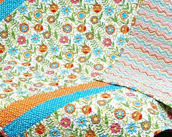 Custom Made to Order Handmade Throw Size Quilt in Small Floral in White (Orange, Blue and Green) from the Bloomin Fresh & Clean Collection