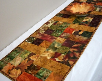 Fall Leaves Table Runner Autumn Handmade Quilted Quiltsy Handmade FREE U.S. Shipping Thanksgiving