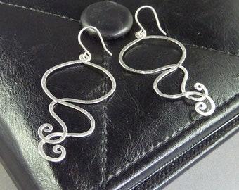 Jellyfish. Silver Abstract Earrings. modern earrings. delicate earrings. whimsical earrings. drop earrings. lightweight earrings.