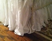 For Shannon-Queen Gathered Bed Skirt-Pair of Long Hemmed Ruffle Euro Shams-Casual Washed Linen Bedding-Bright White Washed Linen