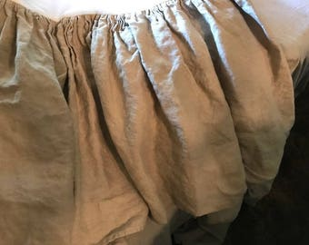 "King Gathered WASHED LINEN Bed Skirt---New Linen Color Pebble-----17"" Finished Drop Length - Split Corners"