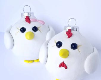 Chicken Christmas Ornaments, FREE SHIPPING
