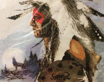 American Indian Hunter Counted Cross Stitch Kit Janlynn