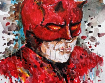 "Print of original comic art watercolor painting, daredevil, size 11""x8.5"",marvel art,comics,black friday, super heroes, villains,home decor"