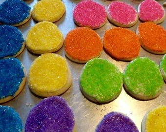 Assorted Easter Egg Cookies, Frosted Sugar Cookies, Homemade Baked Goods, Colored Sugar,