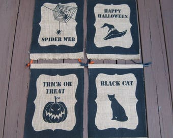 Pick One: Halloween Burlap Banners, Four Printed Designs