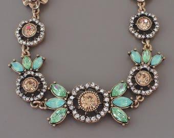 Vintage Inspired Necklace - Crystal Necklace - Green Necklace - Floral Necklace - Antiqued Gold Necklace - Flower Necklace - Brass Necklace