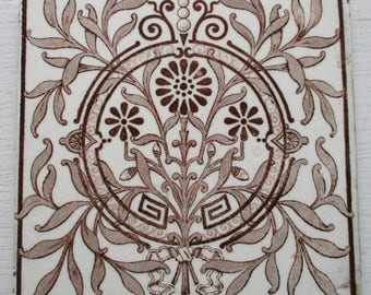 An original and highly ornate Victorian tile
